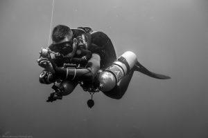 Tech diver on deco stop